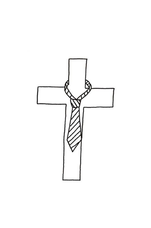 derriere la cravate