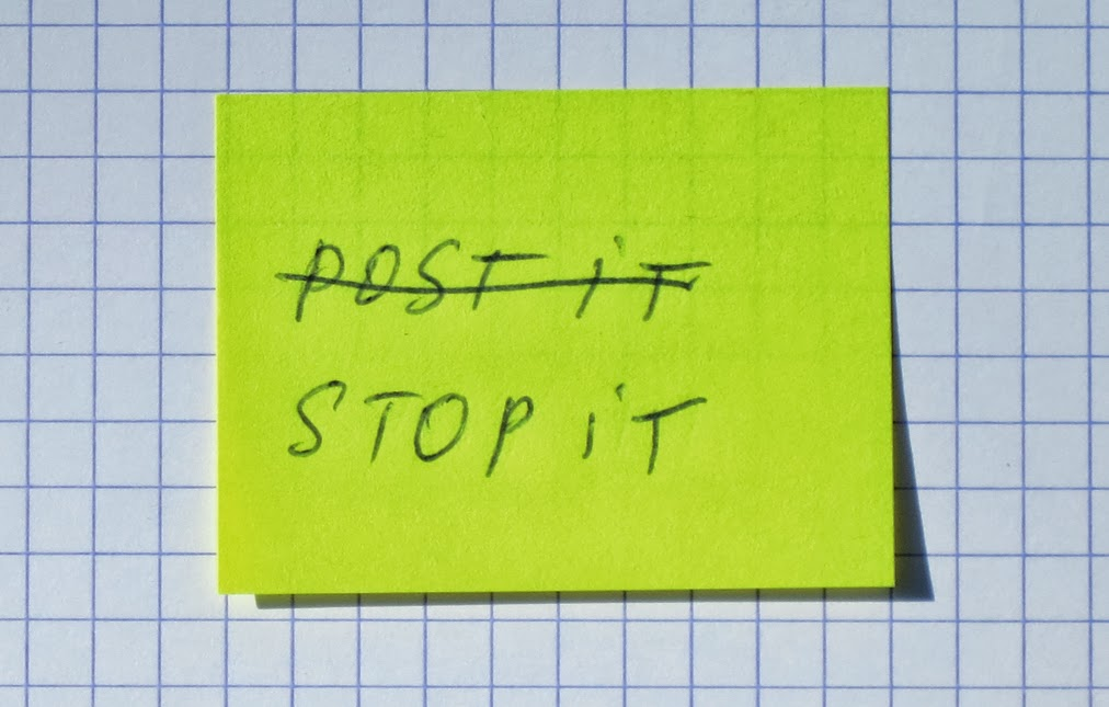 4 post-it stop it jaune