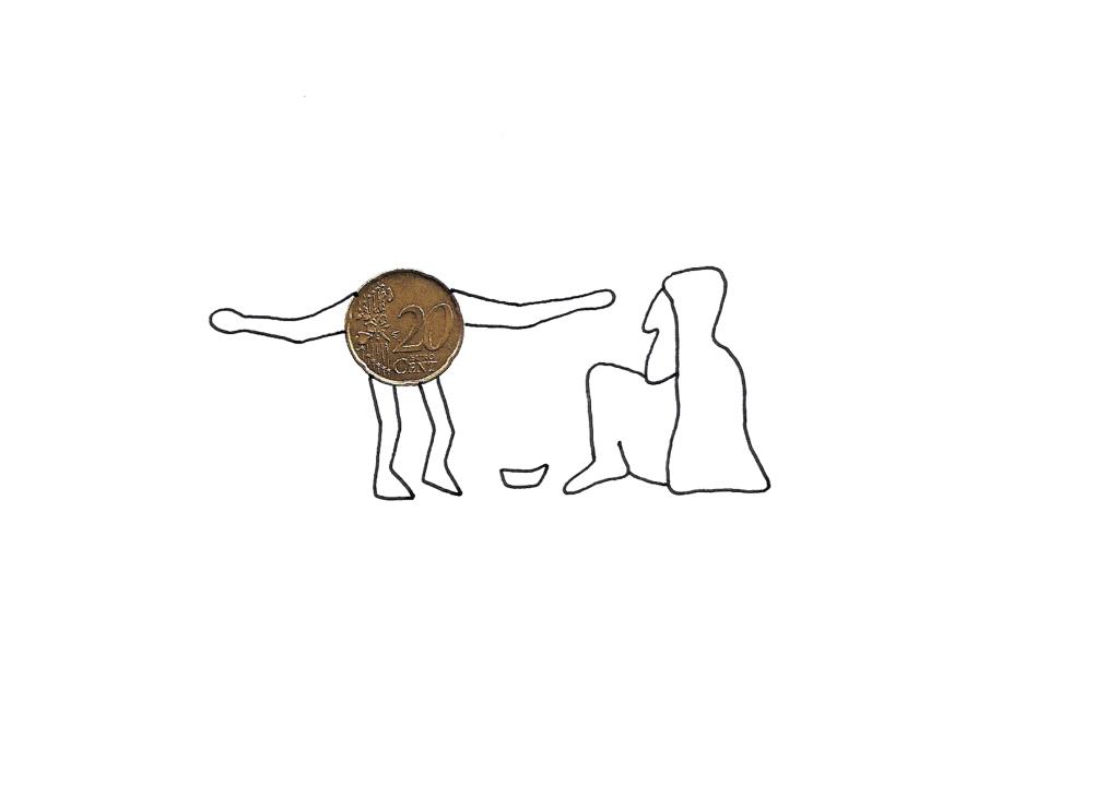 l'homme-sou offrant son corps au mendiant