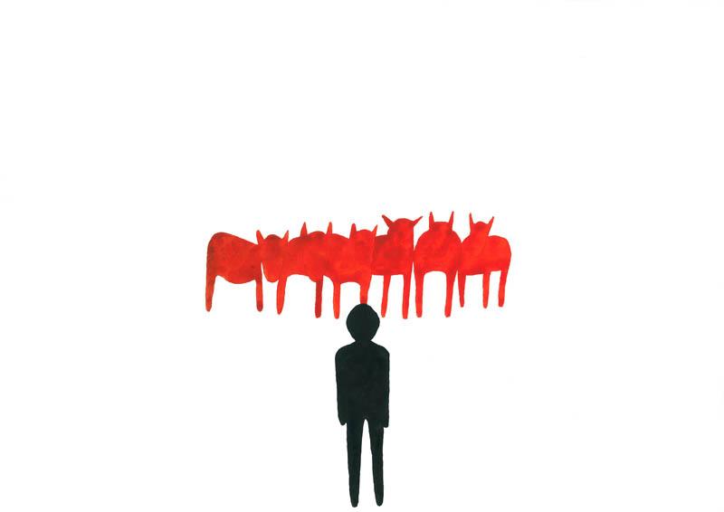L'Attente du troupeau rouge