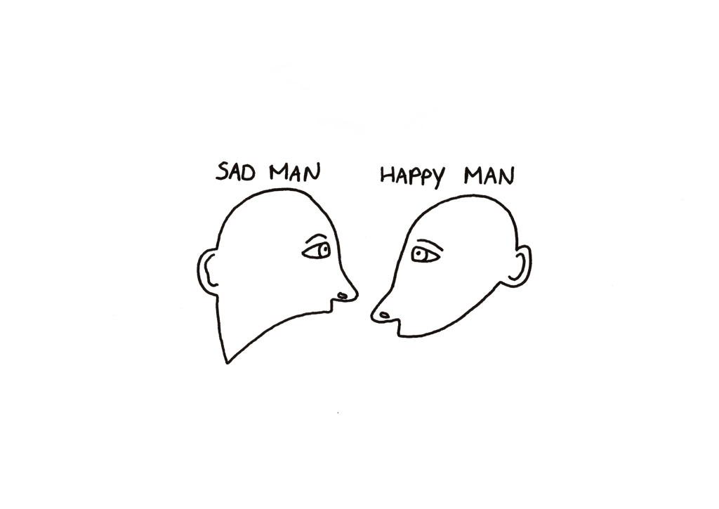 Sad man happy man